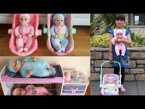 New Baby Annabell & Baby Annabell Brother Doll plus Baby Doll Carrier and Travel Seat Nursery Toys