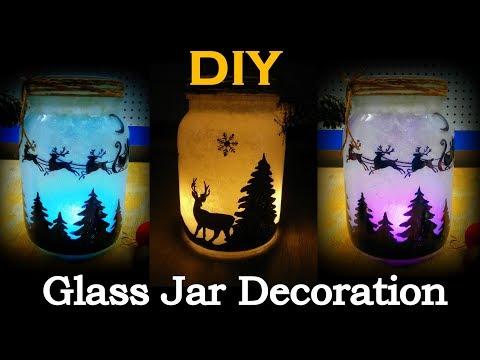 DIY christmas mason jar decoration | glass jar decoration ideas | glass bottle decoration ideas