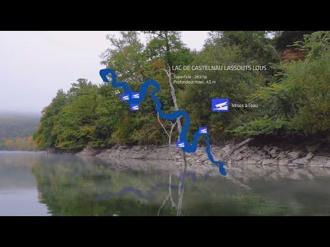 Présentation de la retenue de Castelnau Lassouts Lous, en Aveyron, des paysages des contreforts de l'Aubrac, des mises à l'eau et de la pêche des carnassiers aux leurres en bateau.,
