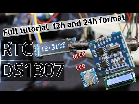 How to use DS1307 RTC with Arduino + LCD/OLED 12h/24h formats