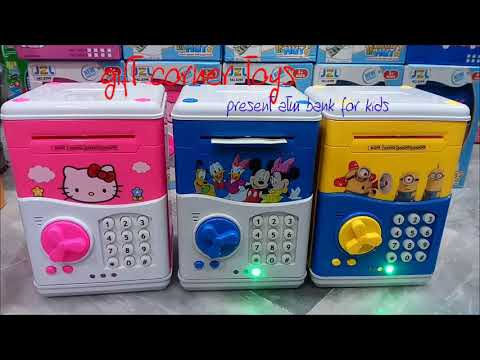 MINI ATM MACHINE COIN BOX FOR KIDS HELLO KITTY MIKEY MOUSE MINIONS