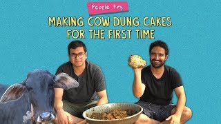 People Try Making Cow Dung Cakes For The First Time | Ft. Kanishk | Ok Tested