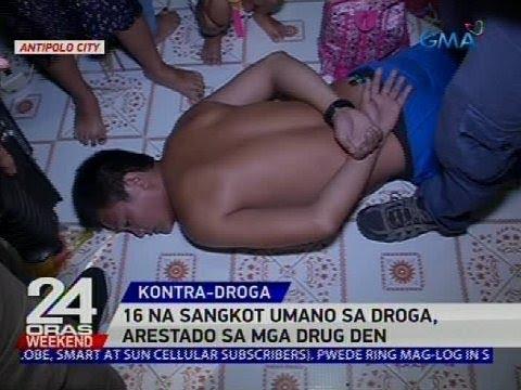 [GMA]  16 na sangkot umano sa droga, arestado sa mga drug den