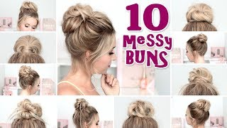 10 MESSY BUN Hairstyles For Back To School, Party, Everyday ❤ Quick And Easy Hair Tutorial