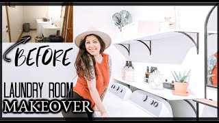DIY LAUNDRY ROOM MAKEOVER 2020 | START TO FINISH | CLEAN AND SIMPLE BOHO DECOR | This House Of Ours