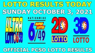 9pm Lotto Result October 3 2021 (Sunday) PCSO Today