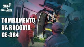 Caminhão tomba em rodovia e deixa homem preso às ferragens, entre Conceição (PB) e Mauriti (CE)