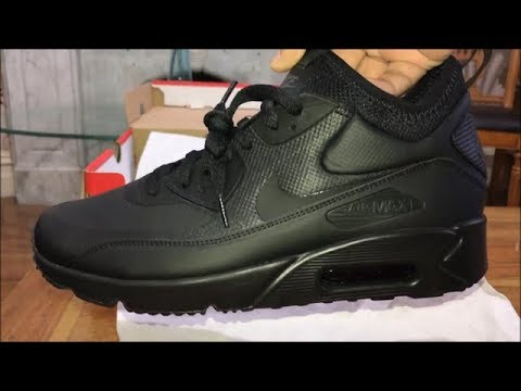 Nike Air Max 90 Ultra Mid Winter Black/Black Anthracite Sneakers Trainers Unboxing and On Feet