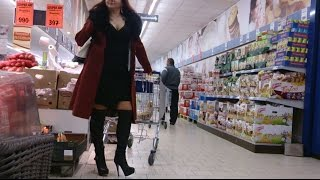 Shopping In Thigh High Heel Boots And Long Coat