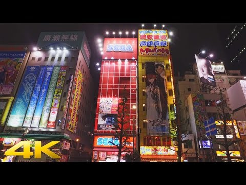 Tokyo Akihabara late night walk 夜中の秋葉原散歩 - 4K