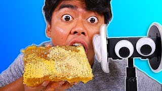 I Tried ASMR... Eating Raw Honeycomb, Floral Foam, Watermelon (Sticky Crunchy Sounds)