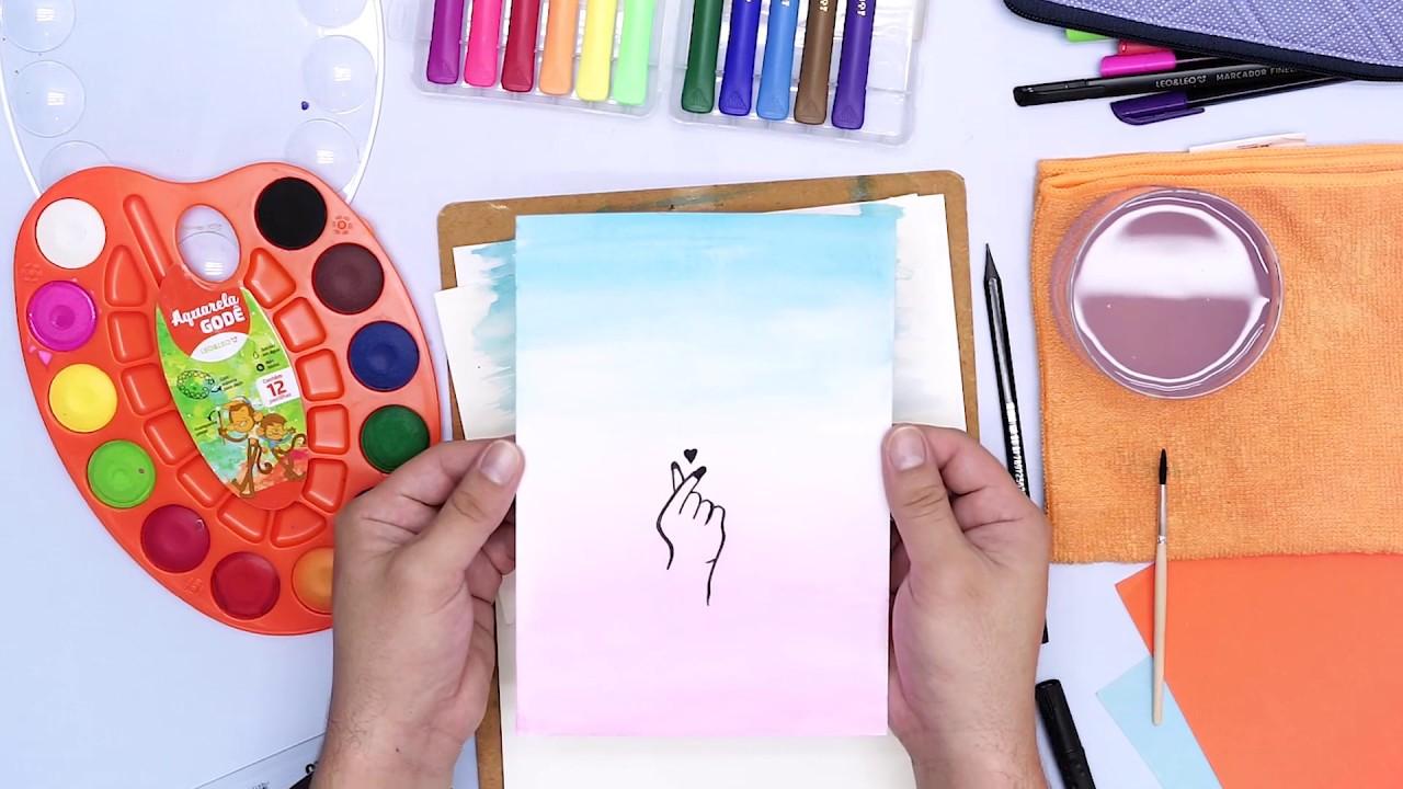 Arte com Aquarela Godê + Hidrocor Pincel