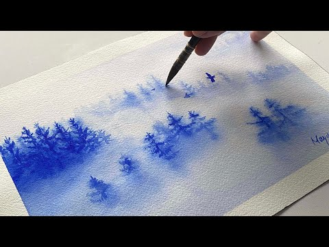 """Thumbnail of How to create """"Foggy Forest"""" with monochrome Watercolor."""