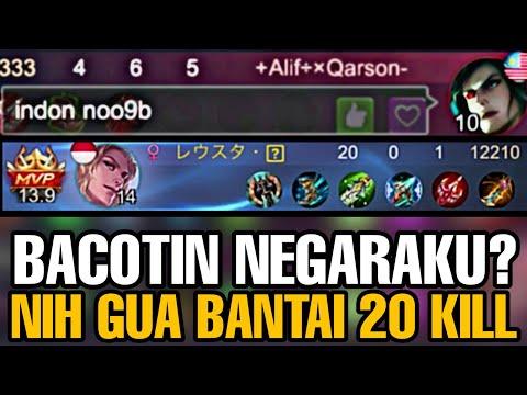 BACOTIN NEGARAKU?? GUA BANTAI 20 KILL 11 MENIT!! - Mobile Legends