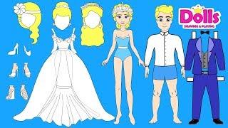 PAPER DOLLS WEDDING DRESS PAPERCRAFT HANDMADE DOLLS BRIDE & GROOM