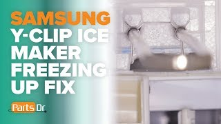 Step-by-step instructions on how to see if your Samsung refrigerator has Y-Clips to help prevent excess frost or ice buildup in the ice maker compartment.