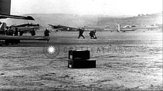 Squadron of Bf-110 twin engine heavy fighter aircraft and Junkers Ju 86 attack...HD Stock Footage