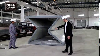 Folding Container House, WELLCAMP Foldable Container House Installation Video