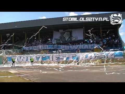 Oprawa na meczu Stomil Olsztyn - Jeziorak Iława