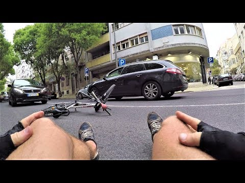 Silly Cyclist Falls By Himself