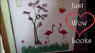 Wall Stickers - Flamingo Bamboo, Honeybee Butterfly on Flowers, Bird Cage