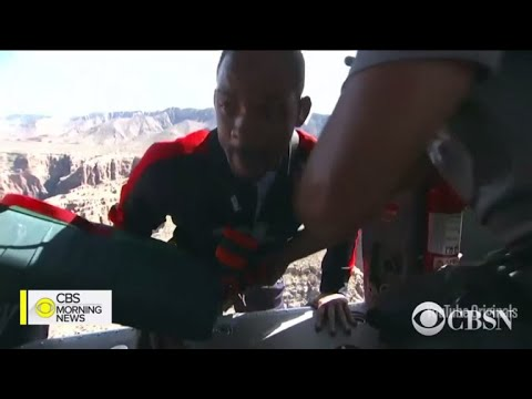Will Smith celebrates 50th birthday by bungee jumping out of a helicopter