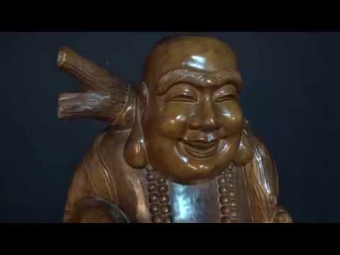 Antique Wooden Fat And Happy Buddha Statue 60