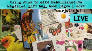 Using Junk To Make Embellishments- Magazine, Book Pages, Gift Bag And Lil  Bird Book JJJC2  Series