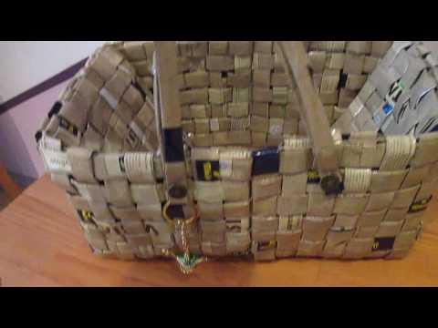 Korbtasche, Handtasche aus Kaffeetüten upcycling