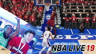 NBA LIVE 19 GAMEPLAY! LEBRON JAMES 360 DUNK VS JesserTheLazer!