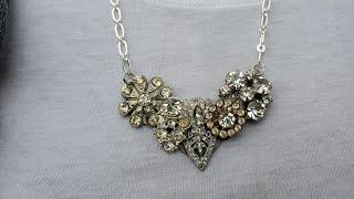 Repurposed Vintage Jewelry Bib Necklace