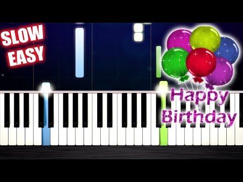 Happy Birthday - SLOW EASY Piano Tutorial by PlutaX