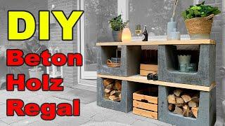 DIY Holz Beton Regal ! Regal selber bauen ! Gartendeko ! Gartenbank ! Outdoor shelf ! tobiebel