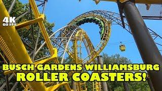 Busch Gardens Williamsburg Roller Coasters! Front Seat Onride POVs 4K
