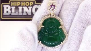 Jade Lucky Buddha CZ Pendant   HipHopBling