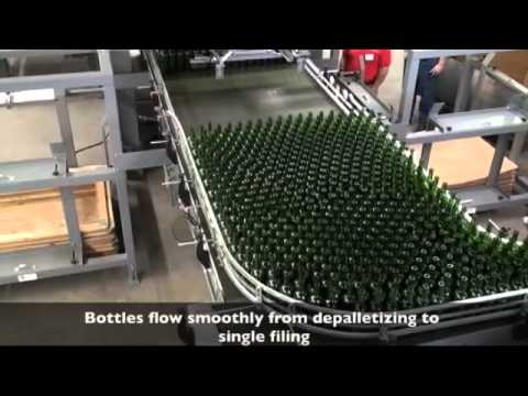Bulk depalletizer for reverse taper wine bottles