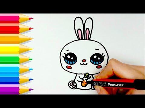 Aprende Cómo Dibujar un CONEJO Kawaii 💙 Learn to draw a Cute Bunny easy
