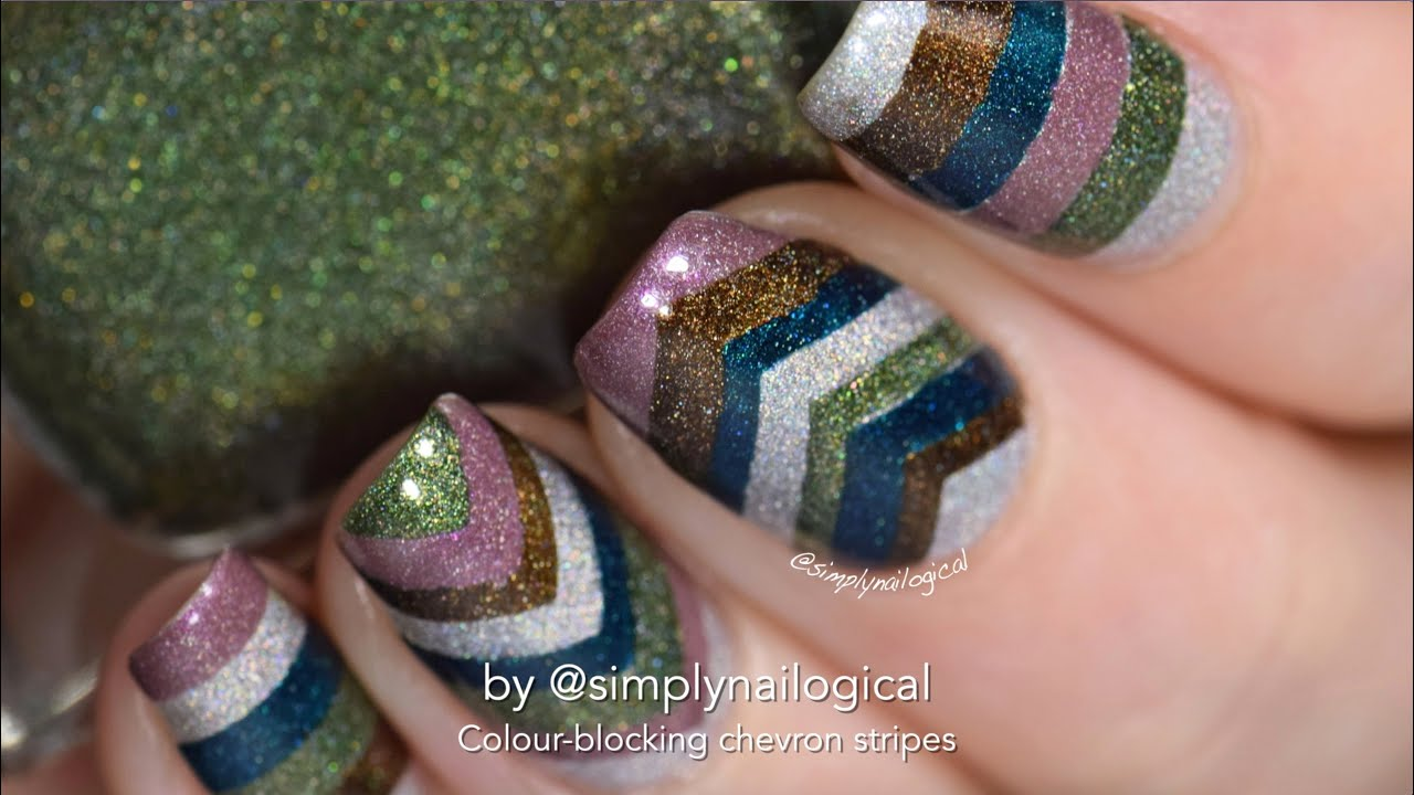 Chevron colour-blocking with nail vinyls nail art thumbnail