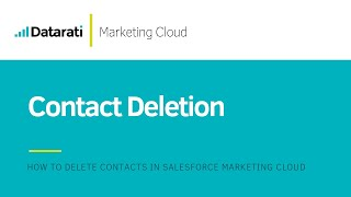 Contact Deletion in Salesforce Marketing Cloud