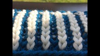 knitting patterns COLOR BRIOCHE STITCH COTES ANGLAISES BICOLORES  ПАТЕНТНАЯ РЕЗИНКА