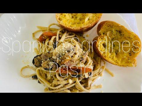 , title : 'Spanish Sardines Pasta & Garlic Bread