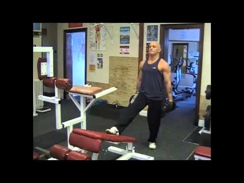 Decline Bench Dumbbell Lunge