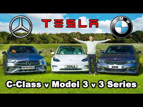 Mercedes C-Class v Tesla Model 3 v BMW 3 Series review