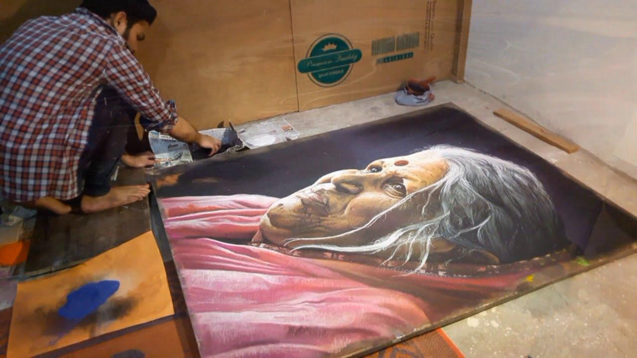 hyper realistic portrait rangoli design sindhutai sapkal by kartik khadatkar