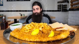 We're back with another restaurant challenge this week, taking on this giant fish and chips challenge at Fosters Fish & Chips in Alderley Edge!  A huge battered fish, more chips than any mortal should ever eat, bread, butter and a big old bowl of mushy peas...  45 minutes to finish. If you finish, you get the cost of the meal returned to you in voucher form, plus a winner's t-shirt! Question is...Can I do it? And more importantly, can Mrs Beard? ;)  ***NEW VIDEOS EVERY THURSDAY AND SUNDAY AT 7PM GMT***  FOLLOW ME: Facebook/Twitter/Instagram: @BeardMeatsFood  FOLLOW MRS BEARD: Instagram: @Mrs_Beard_Eats  MERCHANDISE IS CURRENTLY AVAILABLE VIA TEESPRING ABOVE PENDING RESTOCK OF MY SHOPIFY STORE  ANSWERS TO COMMON QUESTIONS & ADDITIONAL INFO/VIDEOS: How I Avoid Getting Fat: https://youtu.be/GEN-X4lA1g8 How I Make Dieting Easy: https://youtu.be/Y2P9joJPN9g How To Defeat Eating Challenges: https://youtu.be/REmLrqkPngM Thoughts On Fake Videos & Demonstrating Some Eating Capacity UNEDITED: https://youtu.be/rM5F8wa1wBo  Music credits to my man FLORIAN HAACK for the incredible video game metal covers!  SEND ME STUFF:  Beard Meats Food PO Box 200 CASTLEFORD WF10 9DR UNITED KINGDOM  #FoodChallenge #FishAndChips #TheChroniclesOfBeard