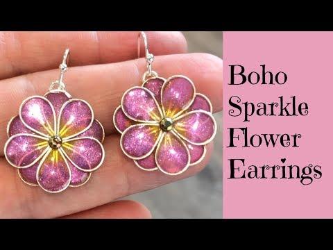 Creating Sweet Boho Sparkle Flower Earrings Jewelry DIY UV Resin Tutorial