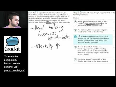 Grockit GMAT and MBA Admissions Course: Lesson 8, Part 2 – Verbal Critical Reasoning