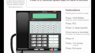 Voicemail Setup Step 02 - Record Name - Business Telephone System