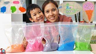 น้องบีม   ทำทรายสีเล่นขายของ กิจกรรมครอบครัว