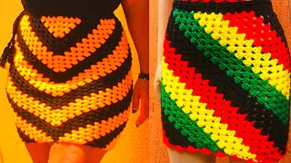 How To Crochet A Diagonal Granny Square Skirt 2 In 1